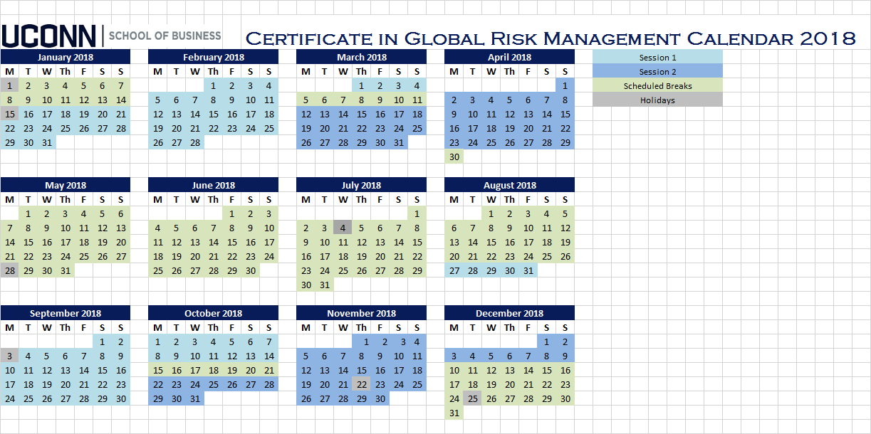 Certificate in Global Risk Management Calendar 2018