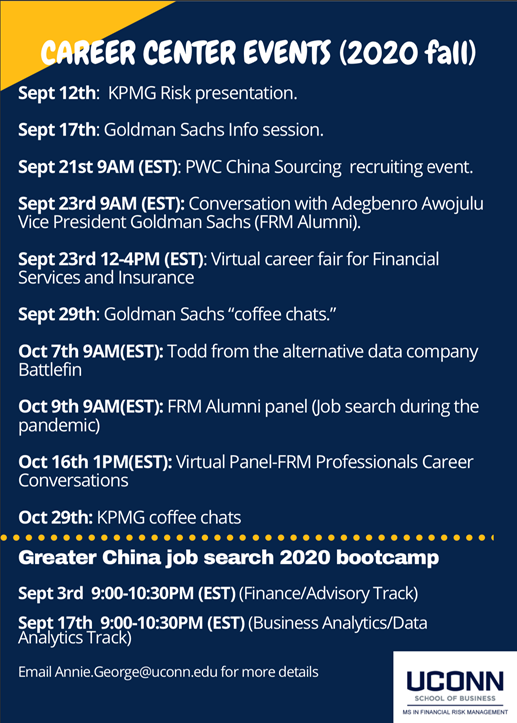 MSFRM Career Center Events Fall 2020